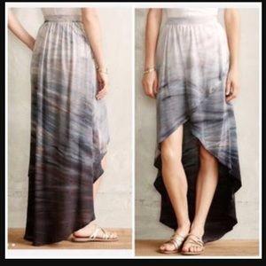 Anthropologie Silk High Low Skirt